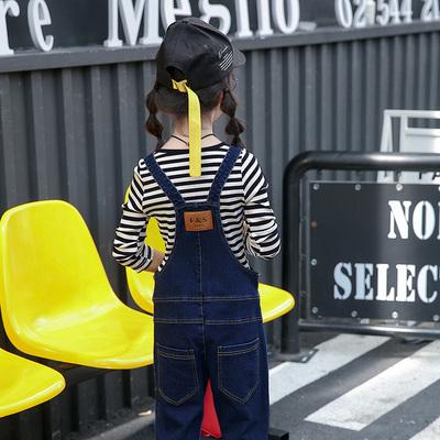 春装女童牛仔背带裤10-12岁春秋新款9小学生11长裤儿童装套装