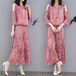 夏季套装女2018新款时尚大码印花雪纺高腰阔腿裤漏肩女神范两件套