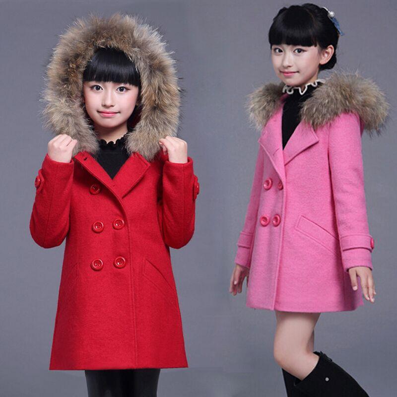秋冬童装女童毛呢外套儿童呢子大衣
