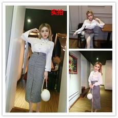 8032#模特实拍!双口袋长袖衬衫+包臀格子前开叉半身裙套装两件套