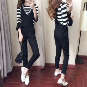960#新款女装韩版气质T恤背带连体长裤休闲两件套七分喇叭袖显瘦