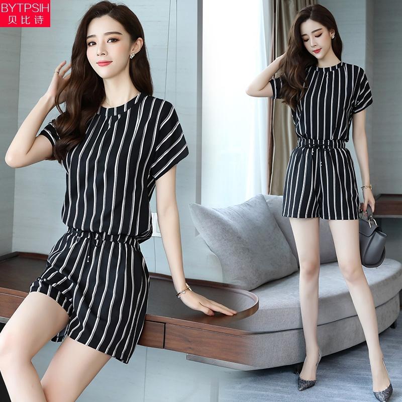 【2件套装】夏季韩版条纹时尚套装