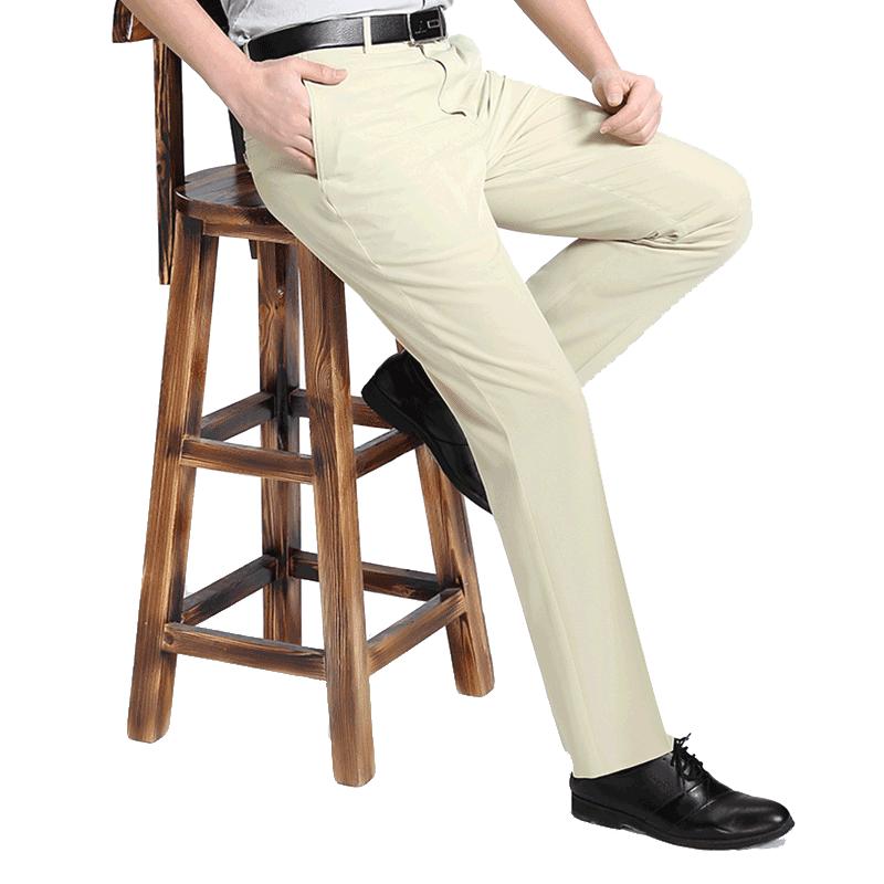 Mùa hè người đàn ông mỏng của không phù hợp với sắt quần trung niên lụa cao eo lỏng thẳng quần người đàn ông chống nhăn quần Suit phù hợp