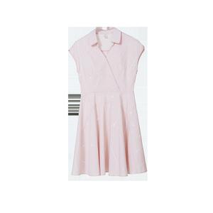 【2018年夏新品】翻领无袖撞色斑点时尚个性修身连衣裙