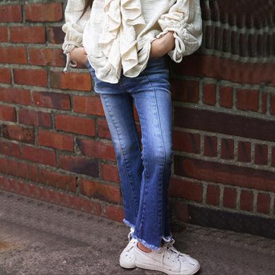 女童春装弹力拼缝洗水纯棉牛仔裤中大童喇叭休闲长裤亲子