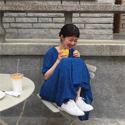 Hàn Quốc sang trọng phong cách retro sóng chấm ren dài french đầm gõ màu sắc tốt