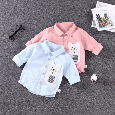 童装秋装新款儿童衬衫小童上衣1-4岁男女宝宝七分袖纯棉衬衣春装