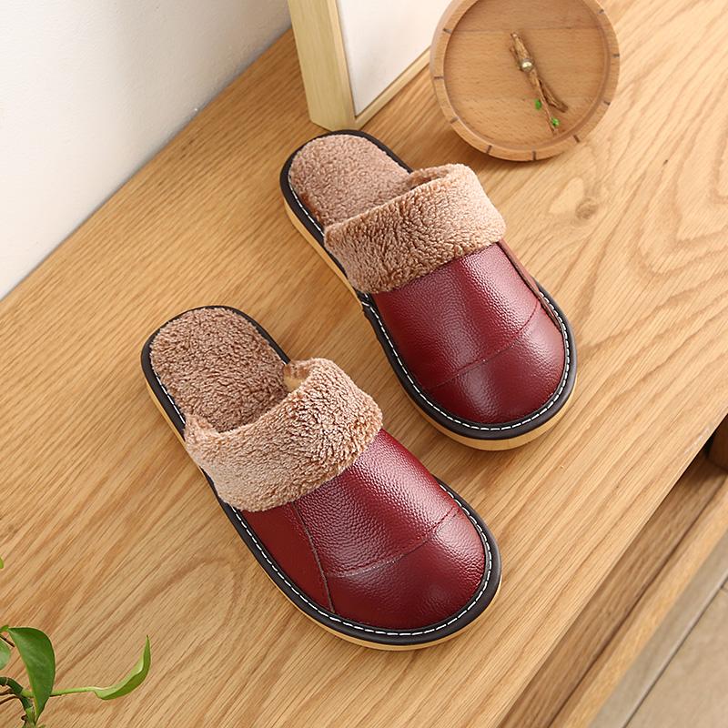 皮拖鞋男女冬季居家保暖室内真皮棉拖鞋防滑厚底地板情侣拖鞋