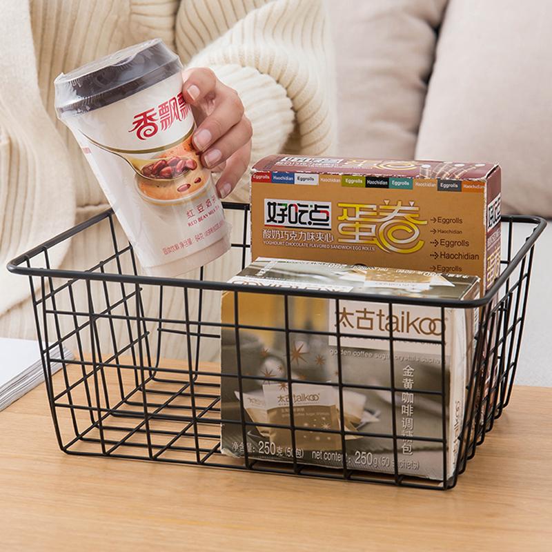 日式铁艺收纳篮厨房零食收纳筐桌面玩具杂物篮子衣柜衣物收纳框