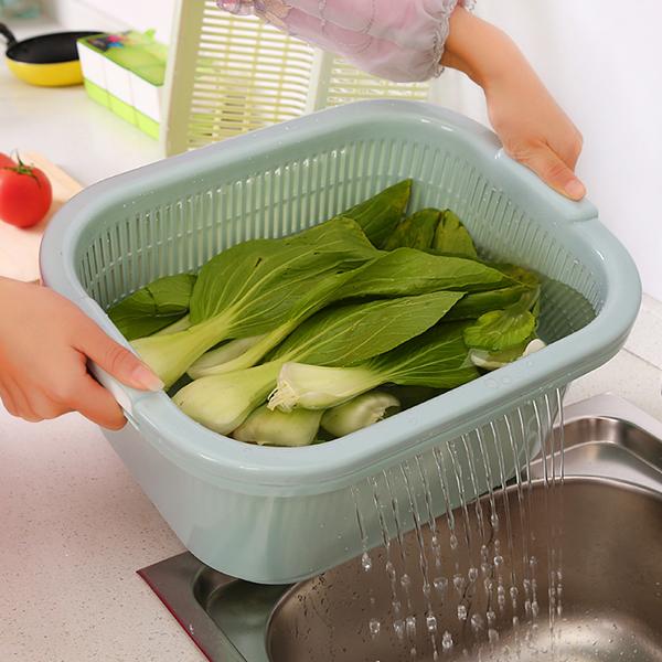 创意加厚多功能厨房洗水果果盘洗菜篮沥水篮双层家用大号塑料篮子