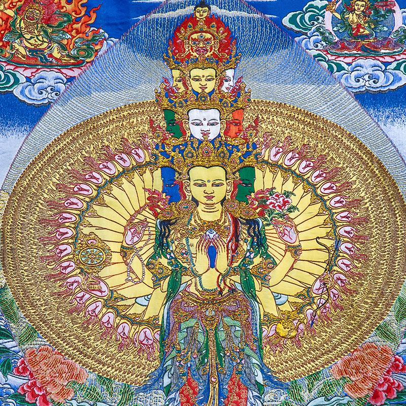 千手观音唐卡刺绣布料装裱西藏唐卡装饰挂画千手观音唐卡画心