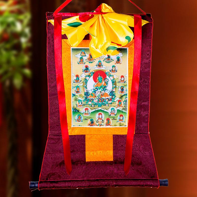 绿度母唐卡刺绣布料装裱西藏唐卡装饰挂画绿度母唐卡佛像挂画