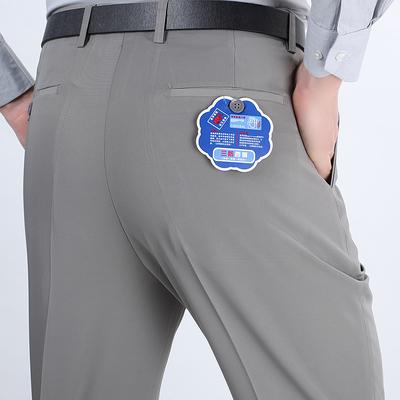 Mùa hè của nam giới quần trung niên kinh doanh bình thường ánh sáng kaki miễn phí ủi lụa thẳng quần mỏng phù hợp với quần nam Suit phù hợp