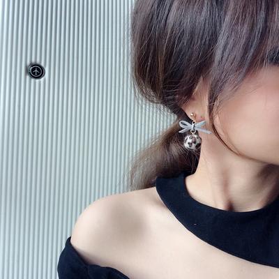 韩国蝴蝶结豹纹耳钉耳夹无耳洞长款女毛球耳环复古可爱耳坠111