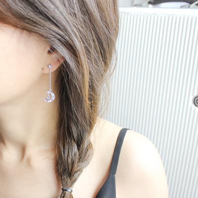 韩国耳环不对称月亮耳s925针耳夹无耳洞女长款耳坠小清新112