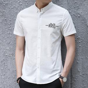 夏季男士帅气文艺商务休闲短袖衬衫印花 男装韩版纯色衬衣潮