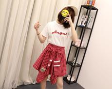 2522 实拍 新款学生字母刺绣短袖t恤+不规则格子半身裙时尚套装女