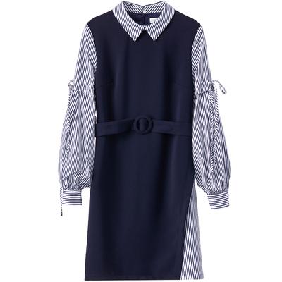 [Giá mới 119 nhân dân tệ] mới sọc màu khâu đèn lồng tay áo eo đầm khí váy dài Sản phẩm HOT