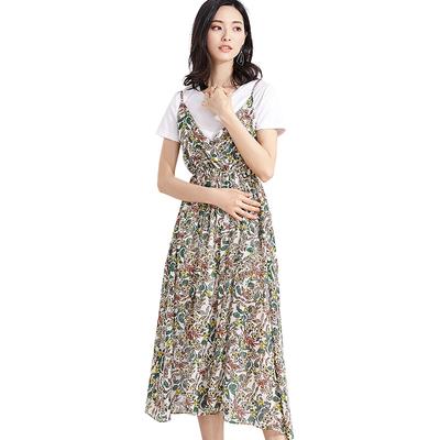 [Giá mới 88 nhân dân tệ] 2018 mùa hè V-cổ tay dây đeo in đầm voan váy bãi biển trong váy dài