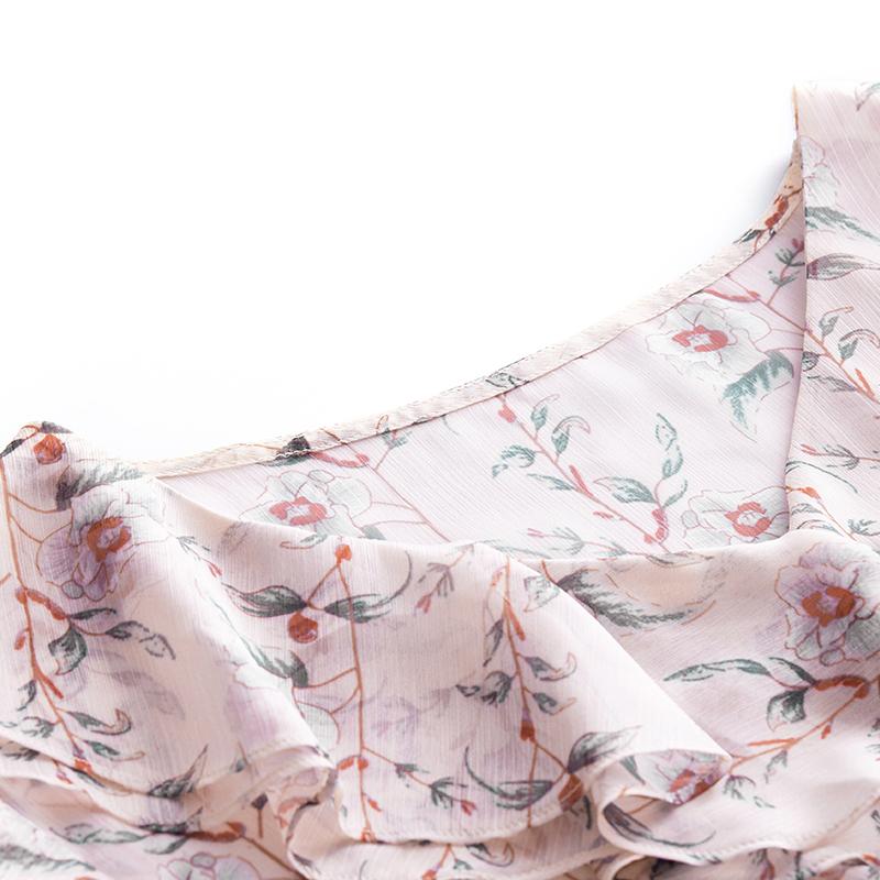[New giá 149 nhân dân tệ] 2018 mùa hè ngắn tay cổ chữ V lá sen in voan eo váy cổ tích váy