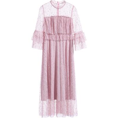 [New giá 159 nhân dân tệ] 2018 mùa hè net sợi sen bảy điểm tay áo net sợi ren váy nhẹ nhàng váy siêu cổ tích
