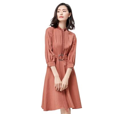 [New giá 149 nhân dân tệ] 2018 mùa xuân mới bảy điểm tay áo cổ áo cổ áo eo bìa bụng một từ dài ăn mặc