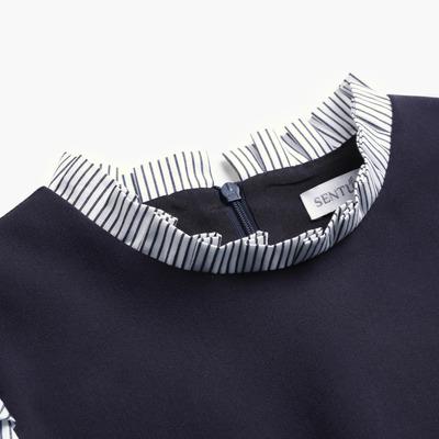 [Giá mới 129 nhân dân tệ] 2018 mùa hè để lại hai sọc nối cổ áo xù cổ áo là mỏng đầm nữ Sản phẩm HOT