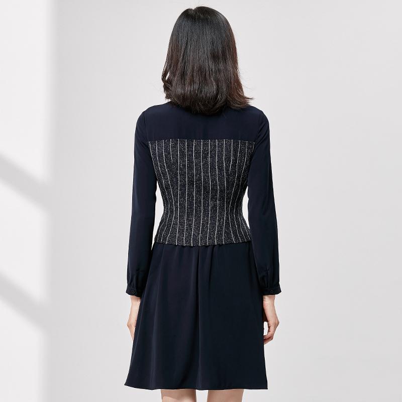 [Giá mới 149 nhân dân tệ] 2018 mùa xuân khâu hit màu eo sọc đầm retro tính khí trong váy dài