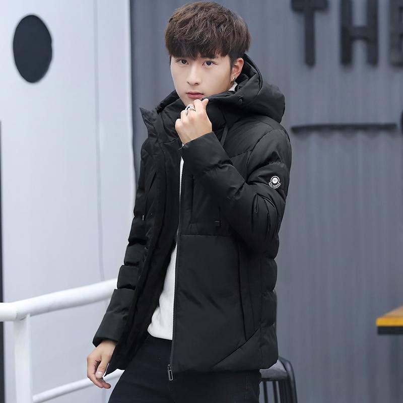 2018冬季青年羽绒棉男士外套加厚保暖韩版修身连帽加厚棉衣男棉服