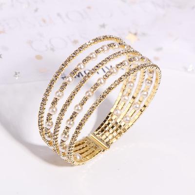 时尚潮流珍珠水晶混搭手镯女多层手链韩国个性气质开口手环