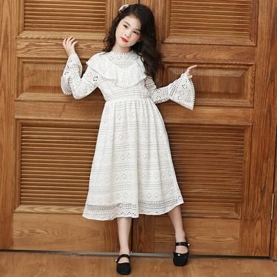 秋新款宫廷风女童裙中大童长袖花边喇叭袖收腰显瘦蕾丝公主裙