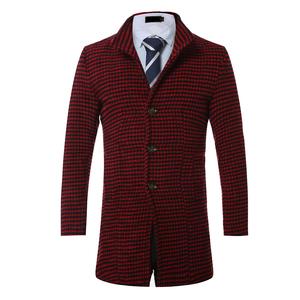 秋冬毛呢系列中长款男士毛呢格子大衣F83-P65 红色平拍
