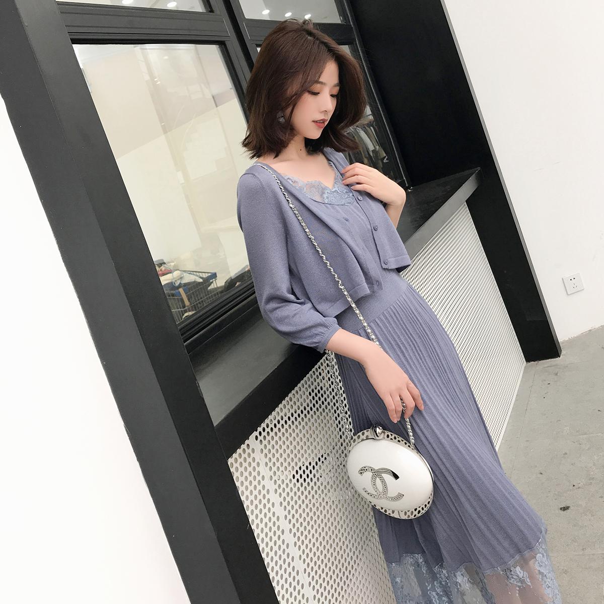 大喜自制吊带裙蕾丝连衣裙复古温柔风针织仙女长裙防晒开衫两件套