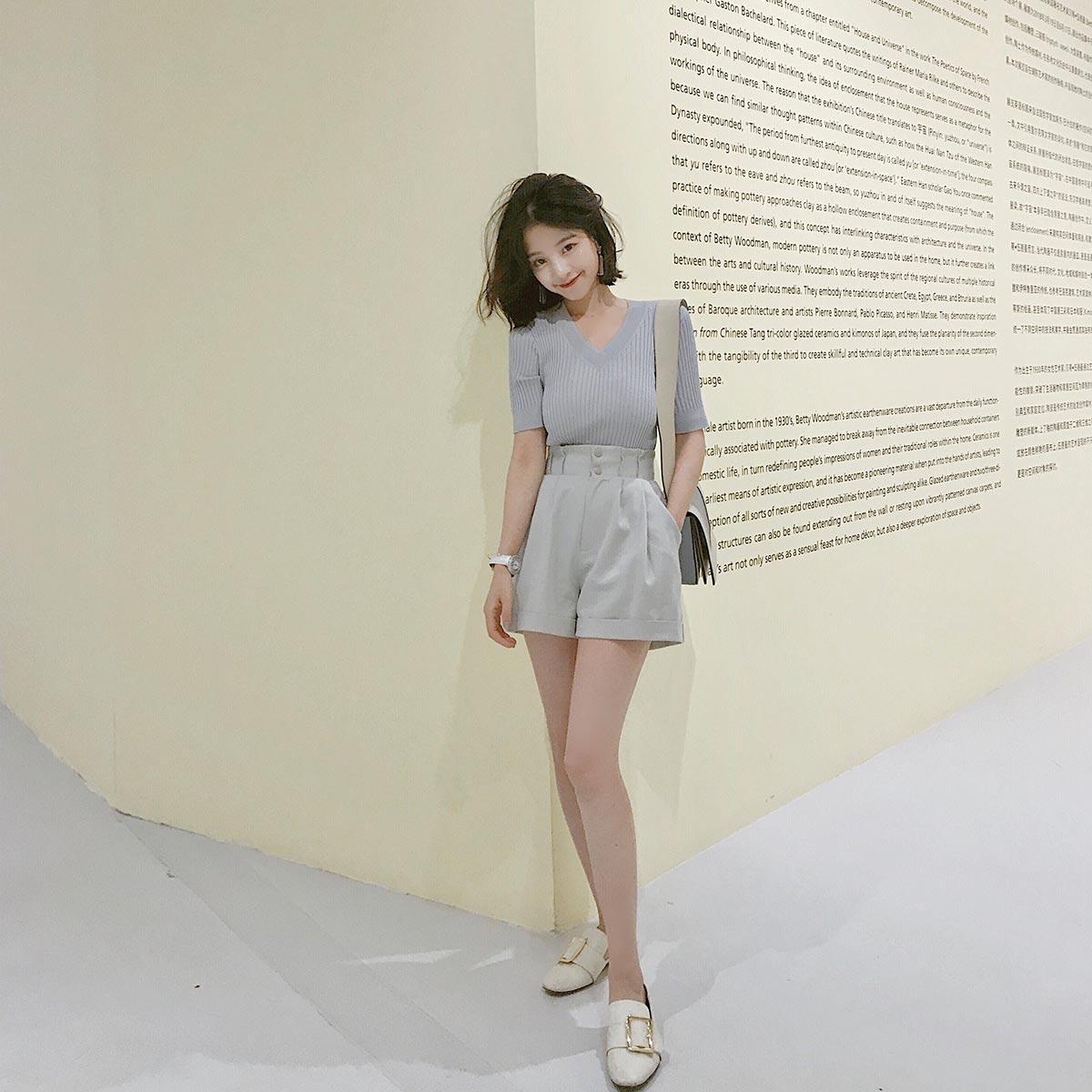 大喜自制春装新款简约高腰显瘦阔腿短裤百搭纯色休闲裤子女