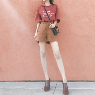 大喜自制  夏季新款 显腿长显瘦 百搭休闲高腰阔腿直筒短裤 3色