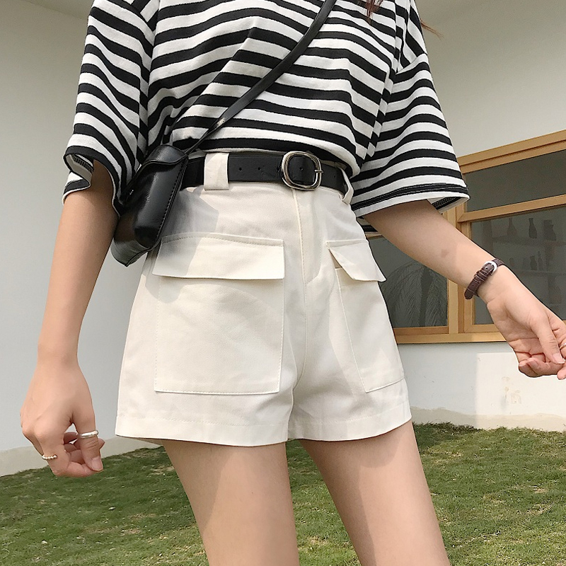 裤子女夏新款宽松高腰直筒阔腿裤显瘦百搭工装休闲裤短裤