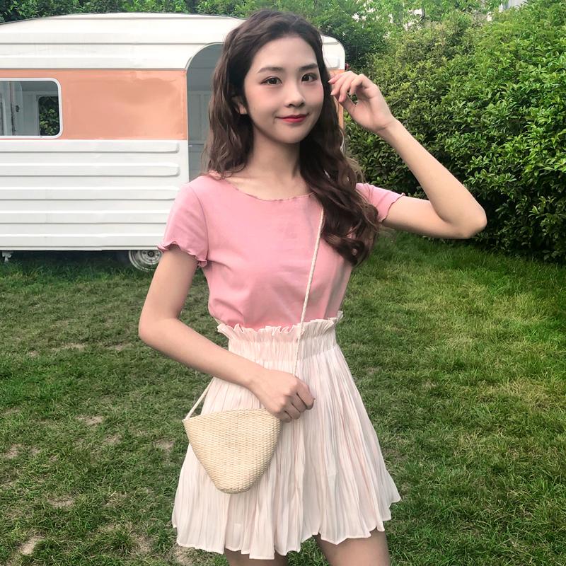 两件套洋气俏皮套裙夏装新款T恤高腰短裙裙子时尚套装女