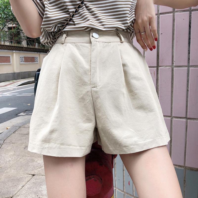 裤子女新款夏季新款宽松百搭休闲裤高腰显瘦阔腿裤短裤潮