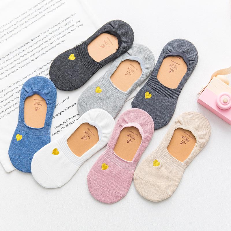 夏天船袜女隐形浅口韩国可爱袜子女短袜防滑硅胶薄款透气纯棉短袜