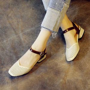 [Bộ sưu tập các phiếu giảm giá trừ 50, với giá 168] ánh sáng đô thị thời trang retro da baotou dép gót chân thấp giày của phụ nữ