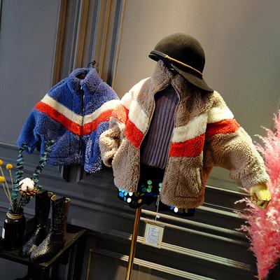 甜美家时尚撞色毛毛衣外套短款宽松新款加厚ins网红同款女童