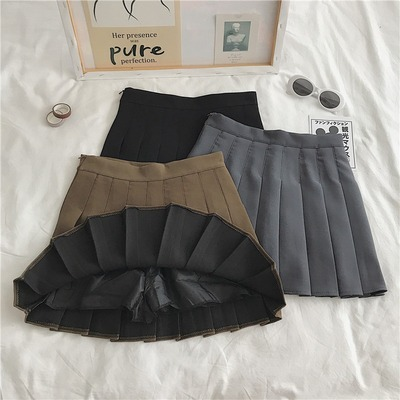 taobao agent A-line pleated skirt spring and autumn new style 2021 Korean version of black high waist slim fashion all-match student short skirt female