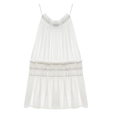 5,30 sản phẩm mới MMCO 2018 mùa hè mới mỏng dây đeo pleated eo ngắn ăn mặc nữ Sản phẩm HOT