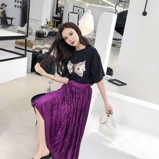 3102#实拍 新款印花短袖T恤棉+压褶中长款半身裙套装女