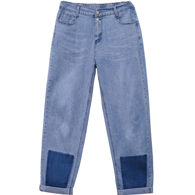 薄款宽松显瘦高腰牛仔老爹裤潮200斤