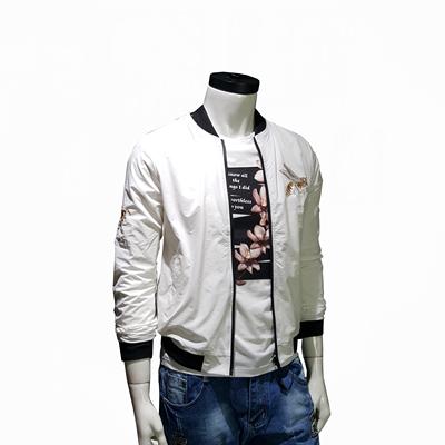 Đặc biệt hàng ngày thêu siêu mỏng nam ong thêu Slim đồng phục bóng chày Hàn Quốc phiên bản của áo khoác màu trắng áo khoác mỏng Đồng phục bóng chày