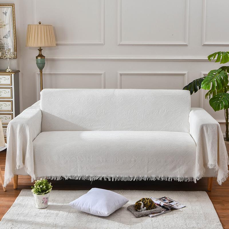 ins北欧纯色全盖沙发巾布艺沙发毯现代简约沙发套防滑沙发垫盖布