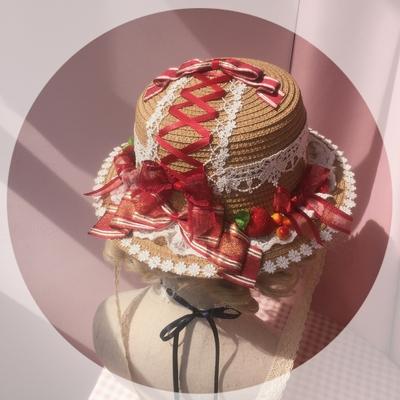 taobao agent Original homemade Lolita element straw hat strawberry jam pastoral style lace soft girl Lolita hat