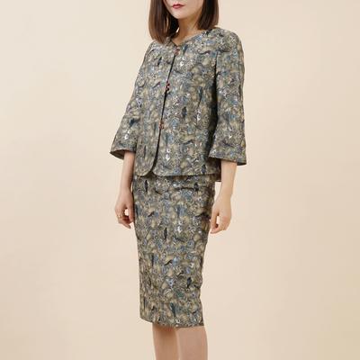 TZ35高端重磅提花真丝织锦廓形西装外套女裙套装过膝直筒铅笔半裙