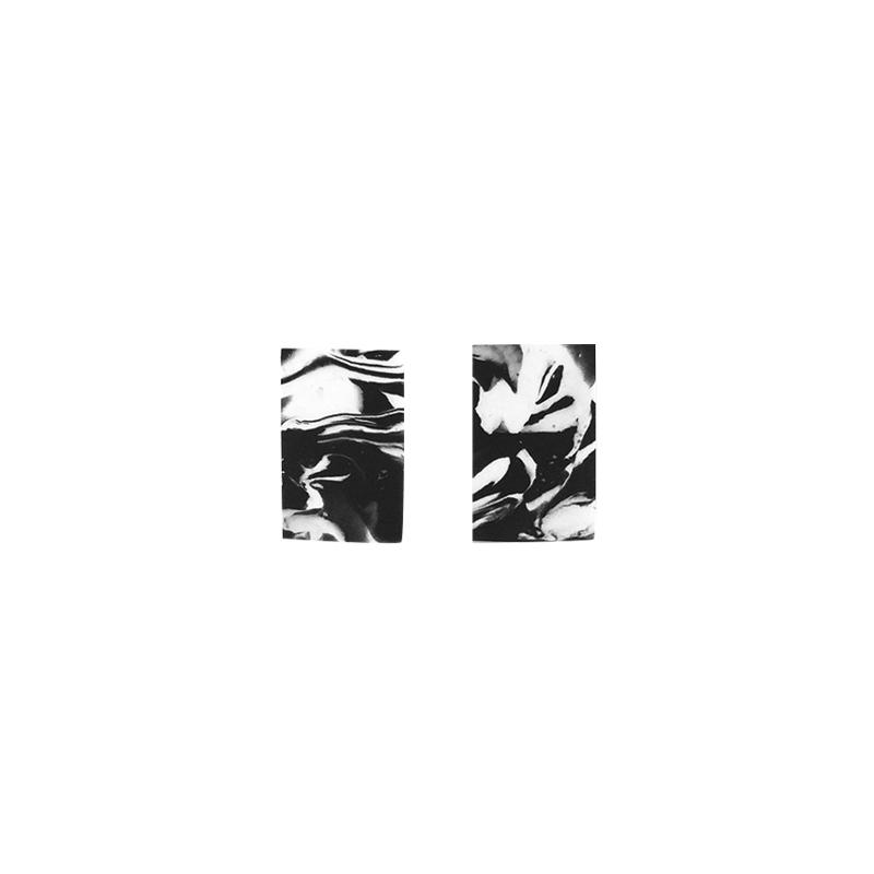 METOOWORKSHOP 大理石系列黑白水墨几何925银纯银极简耳钉